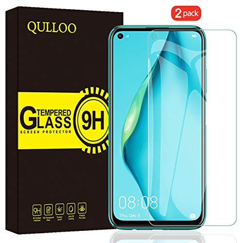 QULLOO Protector de Pantalla Huawei P40 Lite, Cristal Templado [9H Dureza][Alta Definición][Fácil de Instalar] para Huawei P40 Lite (2 Piezas)