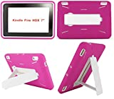 Amazon Kindle Fire HDX 7 inch Case (2013 Version) [NOT for Kindle Fire HD 7] Heavy Duty Hard Hybrid Protective Air Cushion Horizontal & Vertical View Kickstand Tablet Case Cover (Hot Pink/White)