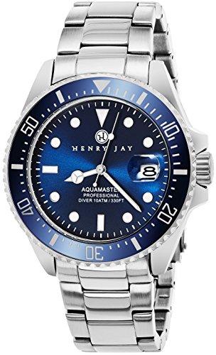 Henry Jay, orologio Aquamaster professionale da uomo in acciaio inossidabile, multifunzione con visualizzazione del tachimetro e GMT per la data