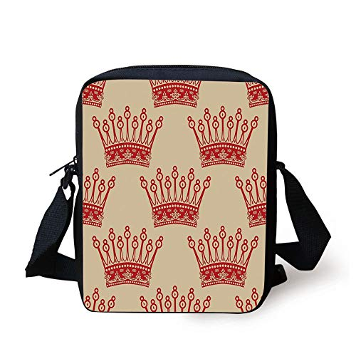 Queen,Crowns Pattern in Red Vintage Design Coronation Imperial Kingdom Nobility Theme Decorative,Light Brown Red Print Kids Crossbody Messenger Bag Purse