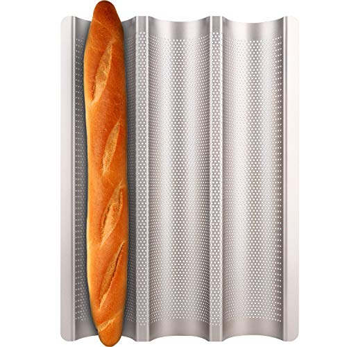 Baguette Pan Fulimax Nonstick baguette pans for baking 15 x 11 inch 3 Slots Perforated Italian Loaf Mold Long French Bread Baker#039s Tray