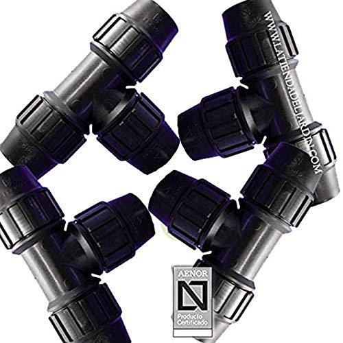Suinga 4 x TE IGUAL POLIETILENO 20MM. Producto con certificado AENOR utilizado en tuberías PE 20 mm para uso fontanería, riego y obras.