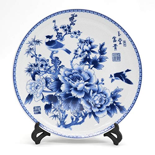 Chinese Blue & White Porcelain Plate of 10'' Oriental Floral Pattern Ceramic Craft for Decorative Ornaments (Flower and Magpie)