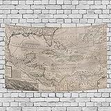 Chou_Joo_Home Wandteppich, Karte der Westindien, Florida Mexiko und die Karibik, Geografikus Westindies Moll Wandbehang Tapisserien Heimdekoration für Wohnzimmer, Schlafzimmer, 152,4 x 228,6 cm