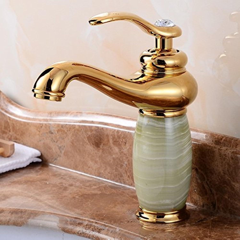 Bijjaladeva Wasserhahn Bad Wasserfall Mischbatterie Waschbecken Armatur für Das Kupfer Gold im Badezimmer Waschbecken Waschbecken Kaltes Wasser Jade Becken Mischbatterien