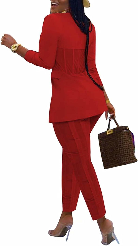 KOOBETON Women Sexy 2 Piece Business Outfits Long Sleeve Blazer Pants Suits Set