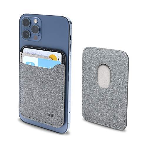 SenseAGE ARROW - Cartera magnética para teléfono diseñada para soporte magnético ultradelgado, fundas para tarjetas, compatible con iPhone 12/12 mini / 12 Pro / 12 Pro Max, Gris