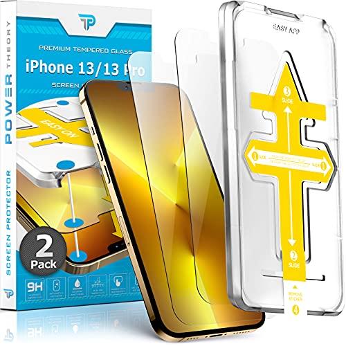 Power Theory Panzerglas für iPhone 13 Pro/iPhone 13 [2 Stück] - Schutzfolie mit Anbringhilfe, Panzerglasfolie, Panzerfolie, Glas Folie, Displayschutzfolie, Schutzglas mit Schablone