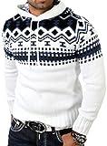 Pull Norvégien pour l'hiver Reslad Pull à capuche – Pull en tricot pour hommes RS de 3013. - Blanc - Large