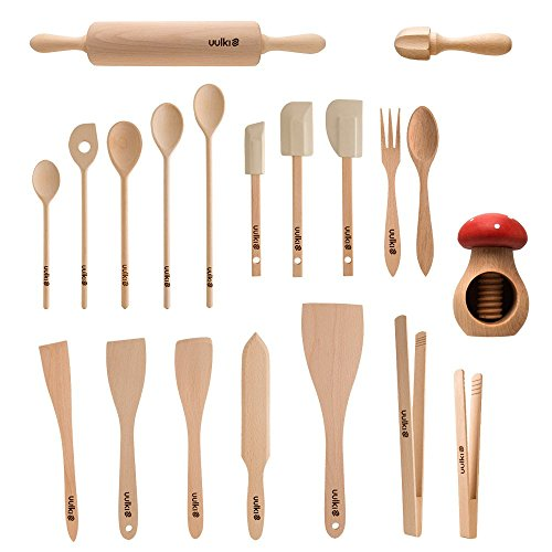 Uulki® 20 pieces Eco-friendly Kitchen Utensils Set from Ardennes Beechwood - (Cooking spoons, spatula food turners, grill tongs, rolling pin, nutcracker, ...) by Uulki