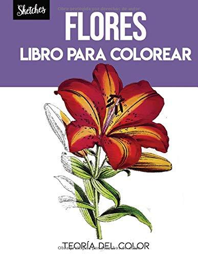 Flores libro para colorear: Teoría del color. bocetos de flores en acuarela...