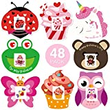 Valentine's Day Cards for Kids Valentines Cards Set with Temporary Tattoos and Envelopes Perfect Gift Choice for Classroom 8 Different Cute & Adorable Designs - 48 Pack