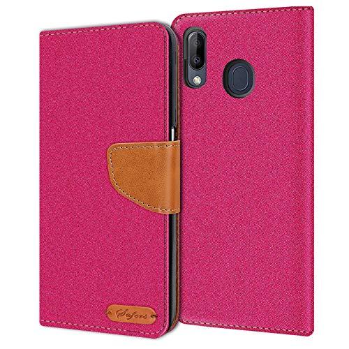 Verco Art Funda de Cuero Samsung Galaxy M20, Funda para teléfono móvil para Galaxy M20 Funda de Libro Tela, Rosa