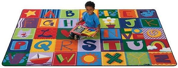 Carpets For Kids 3802 Printed Toddler Alphabet Blocks Kids Rug 8 X 12 Multicolored
