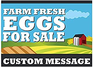 Moonlight4225 Farm Fresh Eggs Yard Sign, Personalize it with Your Custom Contact Info, Full Color on 18 x 24 Corplast, H Stake Included
