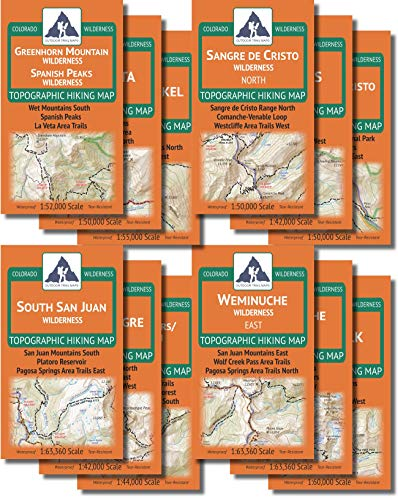 Outdoor Trail Maps The Colorado Wilderness Map Series, Volume 2 - Topographic Hiking 12 Map Pack (2019)