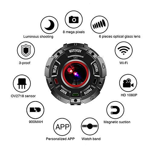 HLDUYIN Sportuhr Multifunktionale Smartwatch-Kamera Unterstützt Nachtsichtaufnahmen Mit Kreisförmigem Bildschirm Und Wasserdichter DV-WiFi-Direktverbindungskamera