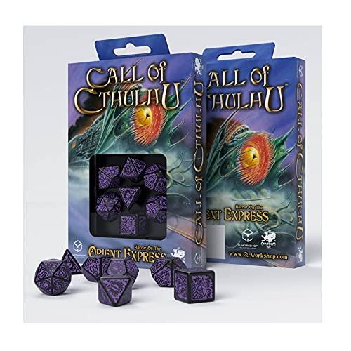 Kit com 7 dados para RPG D&D temáticos Call Of Cthulhu HOrror On The Orient Express Q-Workshop