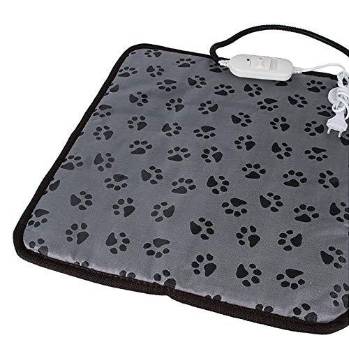 VKTY Tapis chauffant pour animaux domestiques, chiens et chats - Tapis chauffant électrique réglable - Température constante - Avec cordon résistant à la mastication - 45 x 45 cm