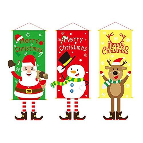 COOGG Kerstmis bonting banner Vrolijk Kerstmis partydecoratie kinderen huis DIY slingers Kerstman vlaggen nieuw jaar geleverd (3 stuks) Als zeigen Een