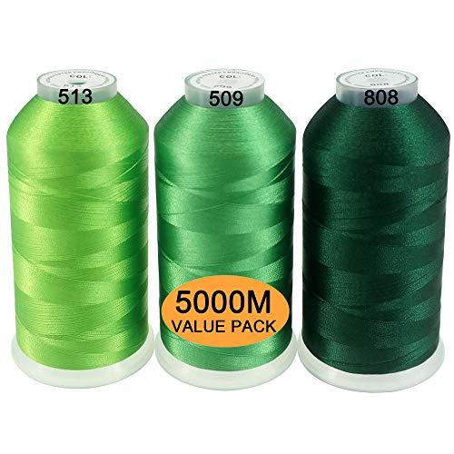New brothread Conjunto de 3 Diferentes Verde Colores Poliéster Bordado Máquina Hilo Grande Carrete 5000M para Todas Las máquinas de Bordado