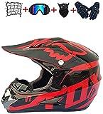 WERTY Casco de Motocross, Juventud Adulto Electric Dirt Bike Face Face Motorbike Set para niños Niñas Quad Bicicletas BMX BICICLET MTB ATV Offroad DH Casco con diseño de Zorro - Rojo Mate Rojo,Medium