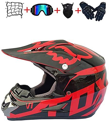MoreJieka - Casco de motocross para niños y adultos, con gafas de protección, máscara de crash para moto y bicicleta de montaña (talla L)