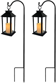 BANBERRY DESIGNS Garden Decorative Black Lantern with Shepherds Hook - Set of 2 LED Flickering Flameless Pillar Candles with 5 Hour Timer Included - Indoor/Outdoor Lanterns