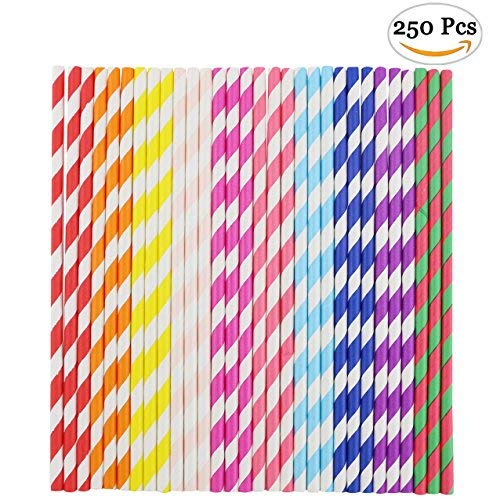 Faxco 250 Pieces Paper Straws Drinking Decoration Straw for Birthday Parties, Weddings. (10 Color)