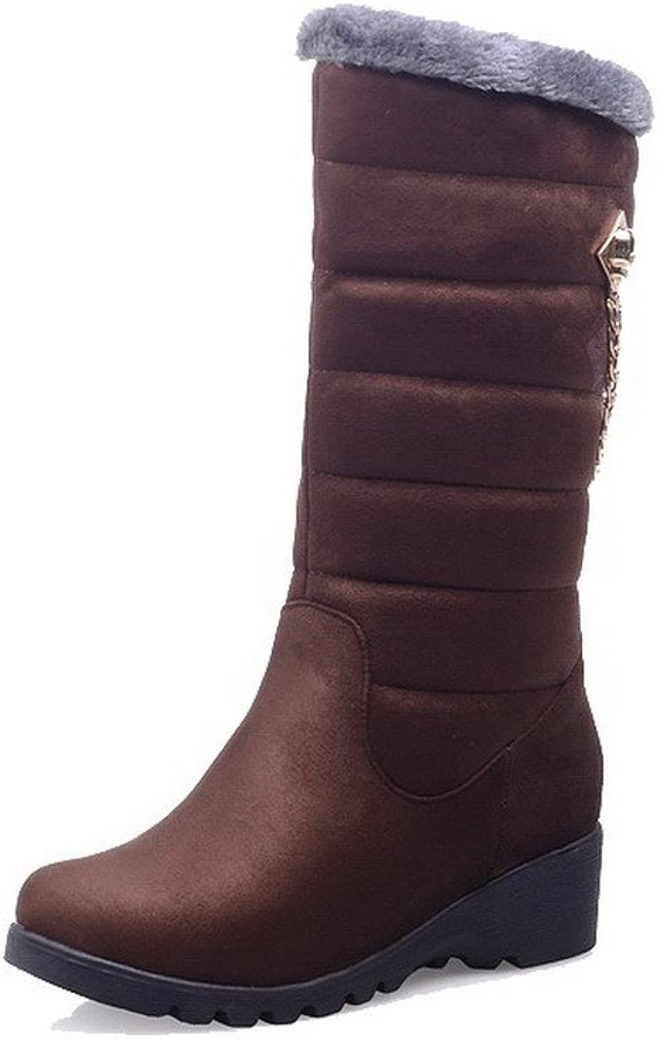 AllhqFashion Women's Low-Heels Solid Round Closed Toe Frosted Pull-on Boots