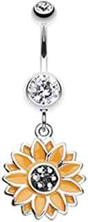 Beach Sunflower 316L Surgical Steel Freedom Fashion Belly Button Ring (Sold Individually)