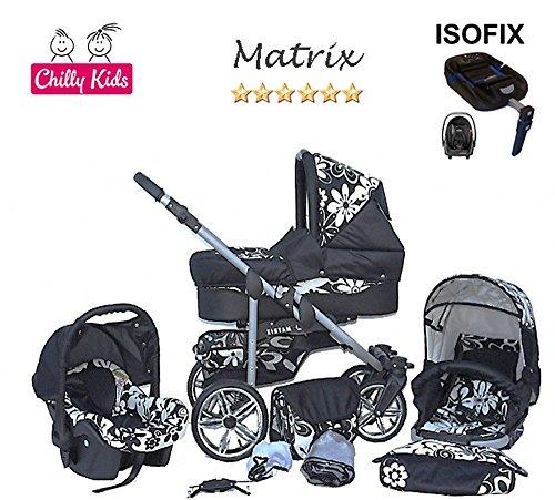 Chilly Kids Matrix 2 poussette combinée Set – hiver (chancelière, siège auto & ISOFIX, habillage pluie, moustiquaire, roues pivotantes) 22 noir & fleurs