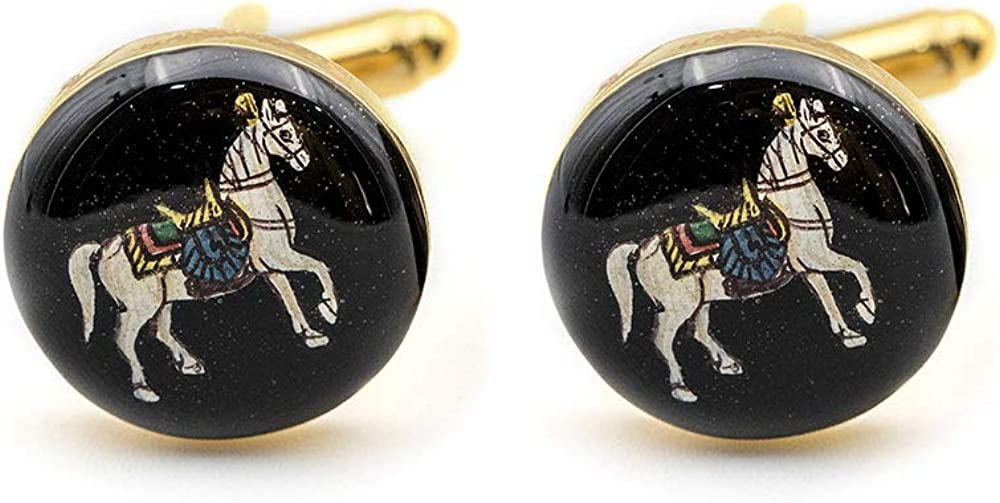 Rosec Jewels Personalized Horse Cufflink and Tie Clip Set, Enamelled Hand Painted Animal Cuff Link for Men, Mens 22kt Gold Plated Wedding Cufflink, Grooms Cufflink
