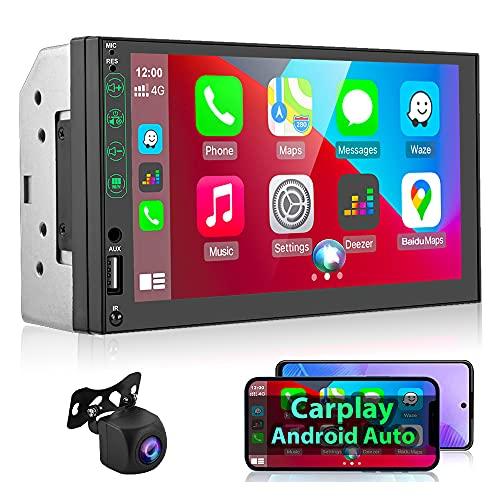 podofo 2 Din Autoradio Compatibile con Apple Carplay, 7 Inch Universal Car Multimedia Lettore MP5 con Bluetooth/Radio FM/SWC/Mirroring del Telefono/Microfono/USB + Ingresso AHD per Retrovisore