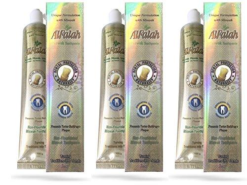 MISWAK Zahngel Zahncreme, mit natürlichen Gipskristallen, ohne Fluorid Zusätze, sehr ergiebig, 3 x 100 Gramm, (300 Gr.), halal, vegan