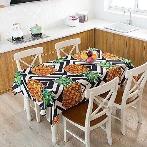 XXDD Fruta Plátano Planta de piña Cactus Mantel en Maceta Decoración de Mesa de Cocina Hogar Rectangular Fiesta Mantel A12 150x210cm