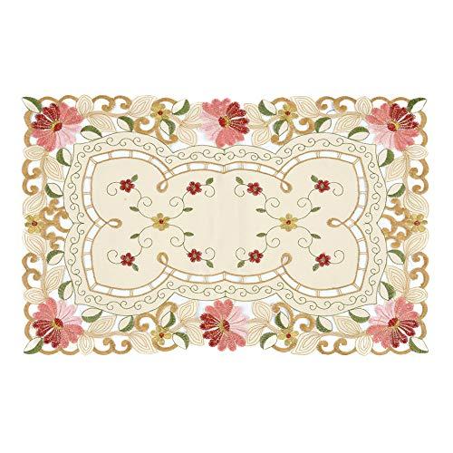 Ihappy Victoria Style brodée Daisy Beige Table Tissu Napperon rectangulaire Sets de table Cadeau