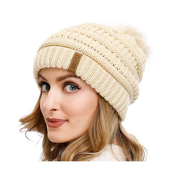 Vgogfly Slouchy Beanie for Women Winter Hats Knit Warm Skull Ski Cap Faux Fur Pom Pom Hat Warm Ski Baggy Cap