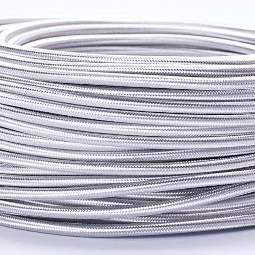 5M Meter Textilkabel Textilummanteltes Kunststoffleitung Stoffkabel Stromkabel / 3-adrig 3x0,75mm² mit Erdleiter, Lampezubehör (5m, silber)