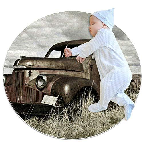 Alfombra redonda LORVIES para camiones antiguos de granja, antideslizante, alfombra de espuma para salón, dormitorio, estudio, sala de juegos, alfombra supersuave de 2.3 pies de diámetro, tela, multicolor, 80x80cm/31.5x31.5IN