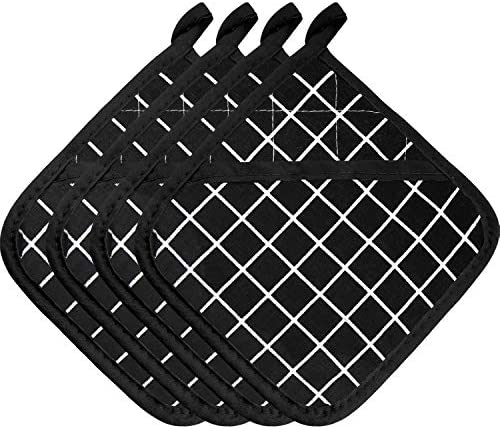 4 Pieces Large Cotton Pot Holders Oven Mitts Set Heat Resistant Pot Holders Square Pot Holder product image