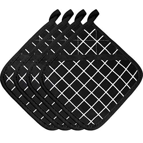 4 Stücke Große Baumwolle Topflappen Ofenhandschuhe Set Hitzebeständige Topflappen Quadratischer Topflappen für...