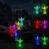 Jupsk Carillón de Viento LED Solar Luz de Viento Decoraciones Ángel Luz Nocturna Que Cambia de Color Luces Colgantes Wind Chime Solar Lights LED Regalos para el día de la Madre