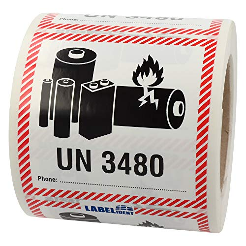Labelident Transportaufkleber - enthält Lithium Ionen Batterien UN 3480-100 x 100 mm - 500 Batterie Aufkleber auf 76 mm (3 Zoll) Rolle, Akku Etiketten