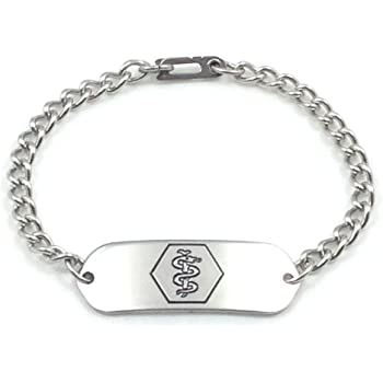MakeMeThis Medical ID Bracelet IDB-11 - Stainless Steel - Non Allergenic - Adult, Youth & Child Sizes