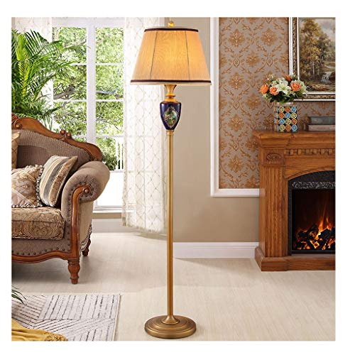 Lámpara de pie LED de estilo nórdico, color rojo, tejido de arriba, lámpara de pie para dormitorio, salón con mesa baja, lámpara de pie (color azul, tamaño: B)