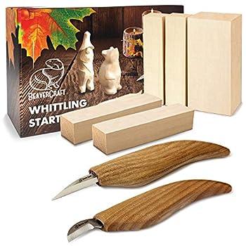 BeaverCraft Wood Carving Kit S16 - Whittling Wood Knives Kit - Widdling Kit for Beginners - Wood Carving Knife Set Wood Blocks Blank Whittling Knives Kit