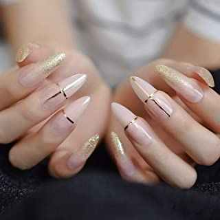 Long Sharp Good Quality Faux Ongles Gorgeous Gold Designed Beauty Fake Nail Pointed Artificail Daily Nail Art Tips
