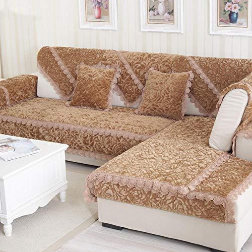 HXTSWGS Funda de sofá de Felpa Gruesa, Fundas de Toalla, sofás con Chaise Longue, Fundas de sofá de Esquina para Sala de Estar, Antideslizante-Coffee_W110xL210cm