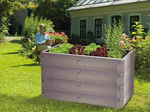 Juwel Hochbeet Timber 4er-Set (24 Bausteine, Kräuterbeet Füllinhalt 480 l, in Holzoptik, Beetsystem mit hoher Wärmeisolierung, Maße 130x60 cm, Höhe 60 cm, Gemüsebeet) 20470